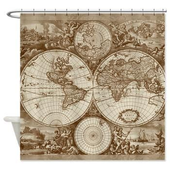 Antique world map fabric shower curtain vintage map travel antique world map fabric shower curtain vintage map travel decor brown and cream gumiabroncs Gallery