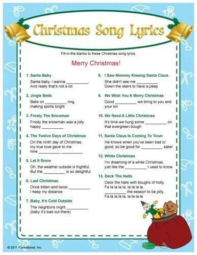 Christmas Sing Lyrics Christmas Songs Lyrics Christmas Carol Game Christmas Trivia