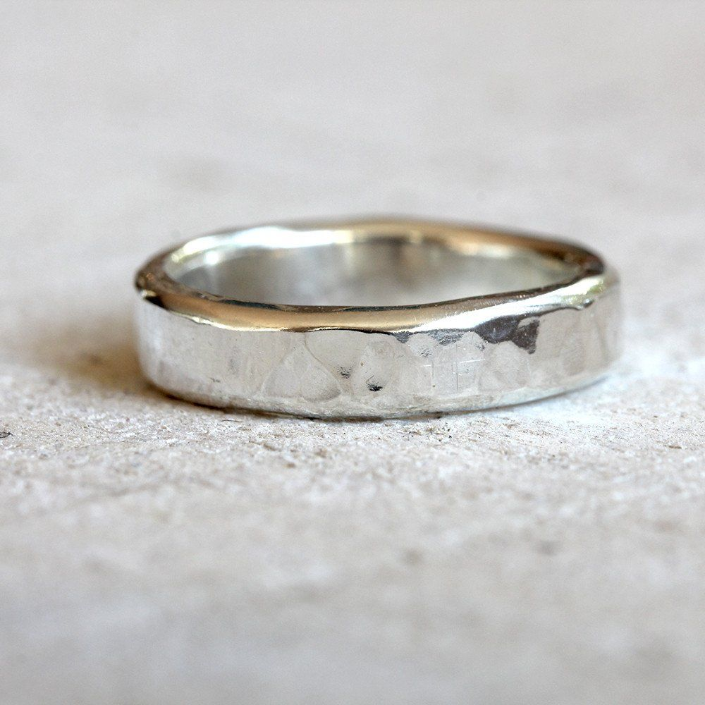 Hammered wedding ring set Eco friendly sterling silver hammered