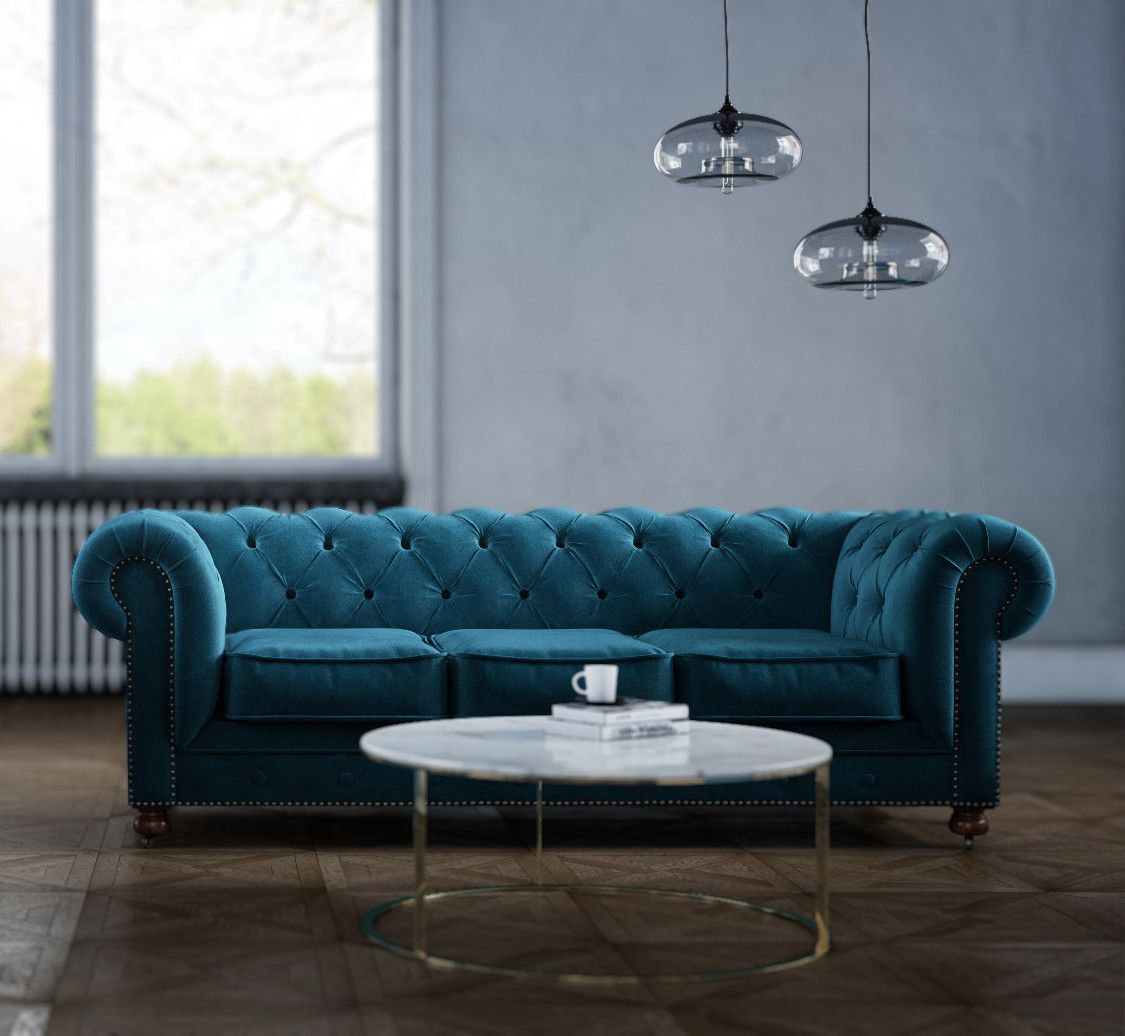 Velvet Chesterfield 3 Seater Sofa