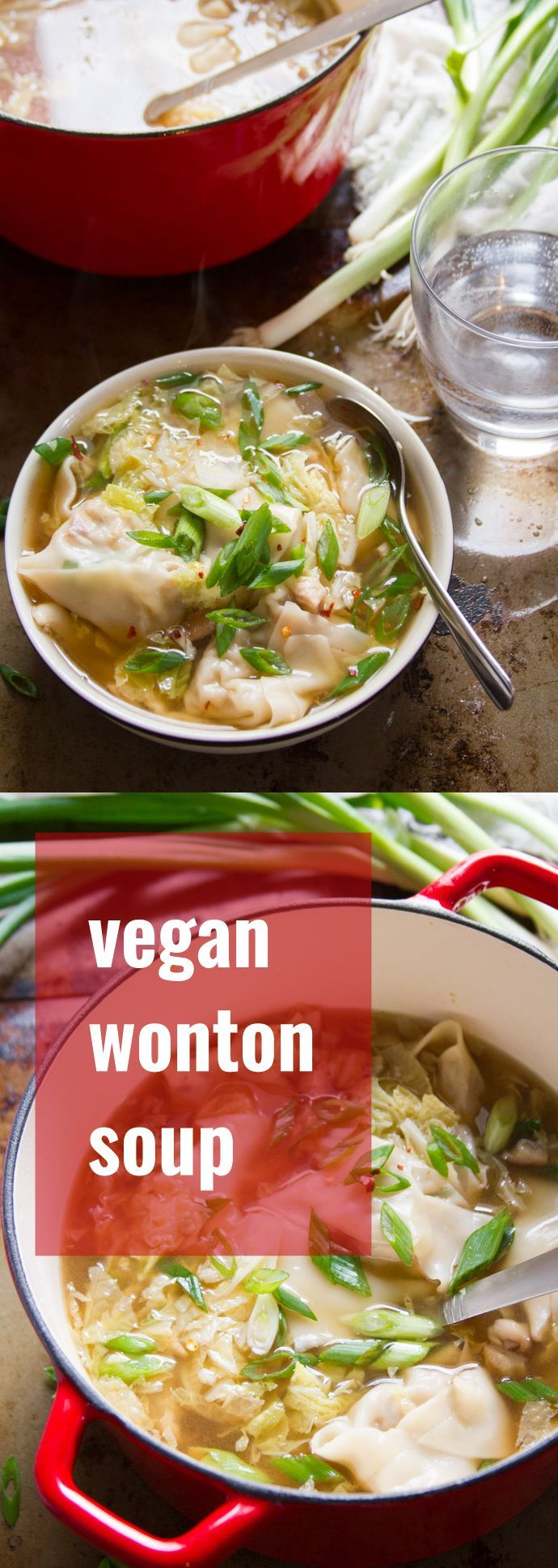This vegan wonton soup is made with savory shiitake stuffed wontons and crispy napa cabbage in a light gingery broth.