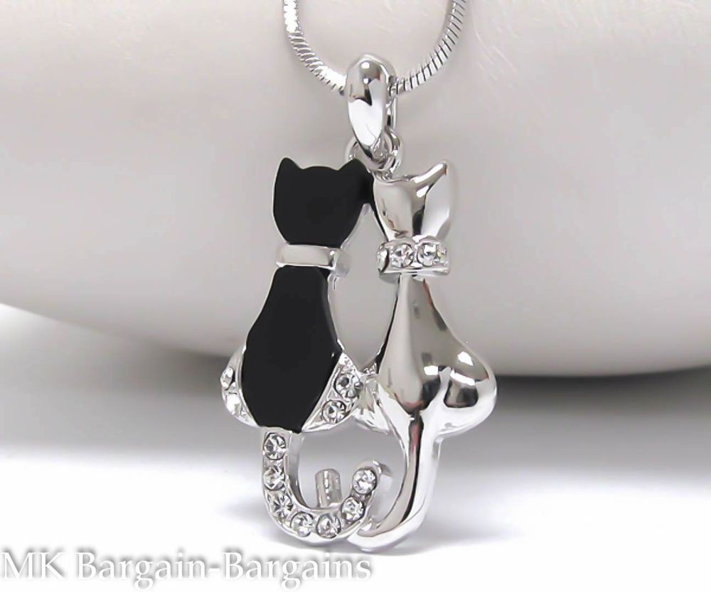 Cute kitty white gold plating crystal black two pussycat cat cute kitty white gold plating crystal black two pussycat cat pendant necklace uk mozeypictures Choice Image