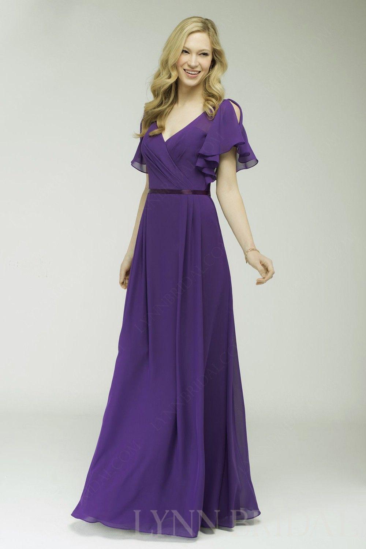 Cadbury Purple A Line V Neck Ruffle Sleeve Long Bridesmaid Dress