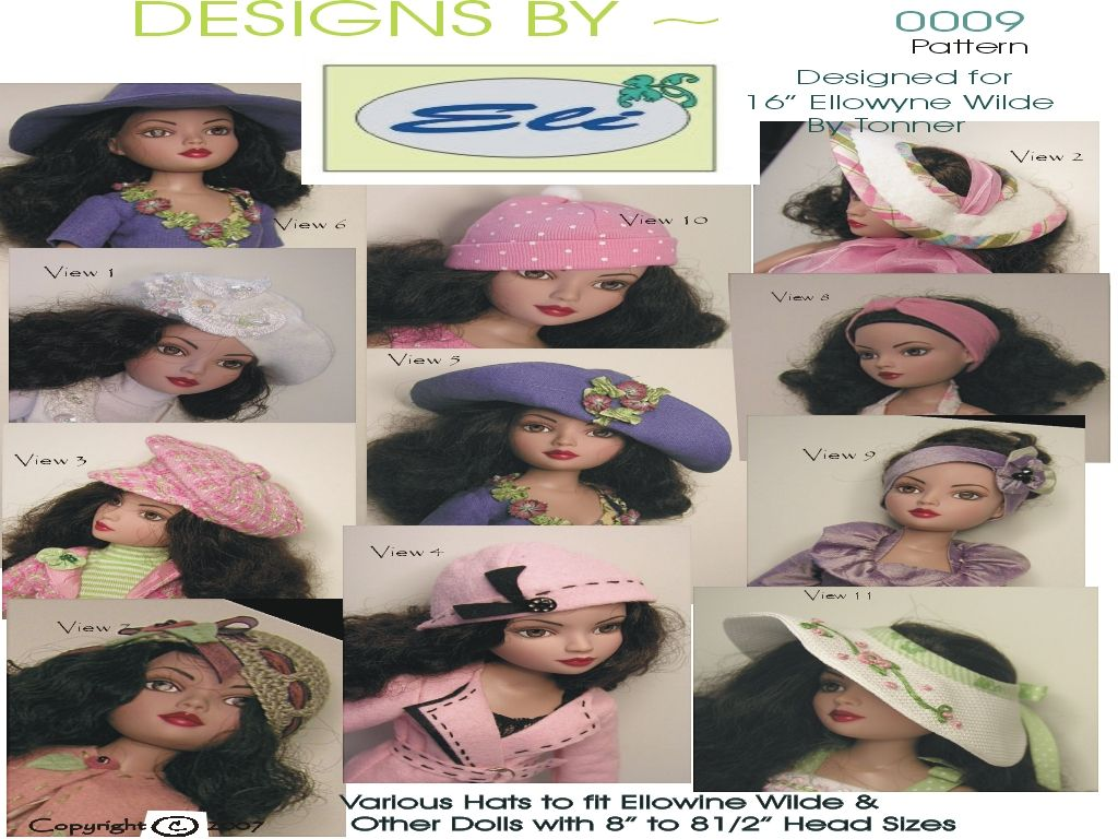 Pattern Includes Pattern Pieces & Detailed instructions to make the following 12 hats or head bands ~    Felt Tam    Open Brim Sun Hats    Sun Hat ~ Convertible Brim    Head Bands    Crochet Cloche    News' Boy Hat    Knit Stocking Hat    Felt Cloche