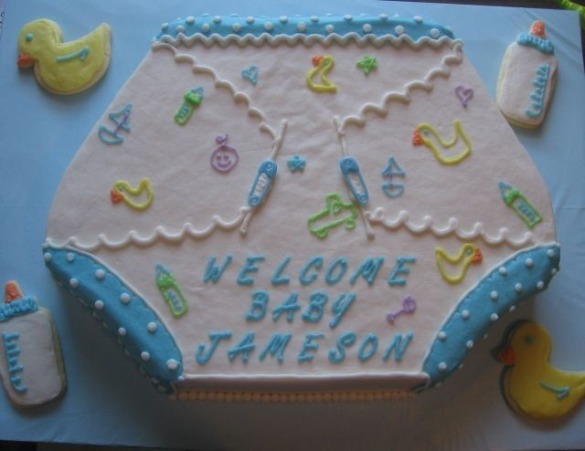 diaper shaped cakes | this was made to match the shower, Baby shower invitations