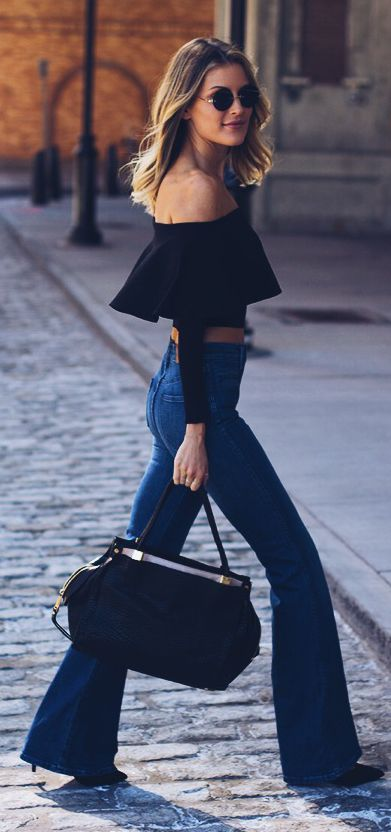 denim flares and off the shoulder. LOVE this style