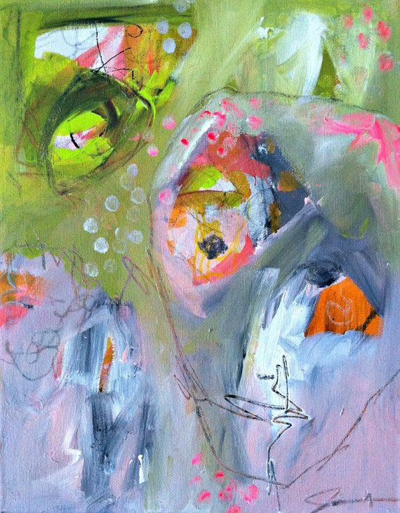 """Original """"Talking Heads"""" Figurative Abstract Contemporary  Pink, Lime & Gray 14"""" x 11"""" Acrylic Painting on Canvas by JJ Jacobs"""