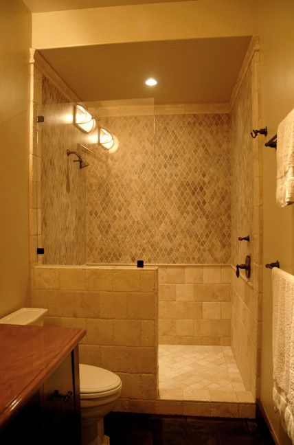 Doorless and modern bathroom shower design and decorating with single shower head for small Sample design of small bathroom