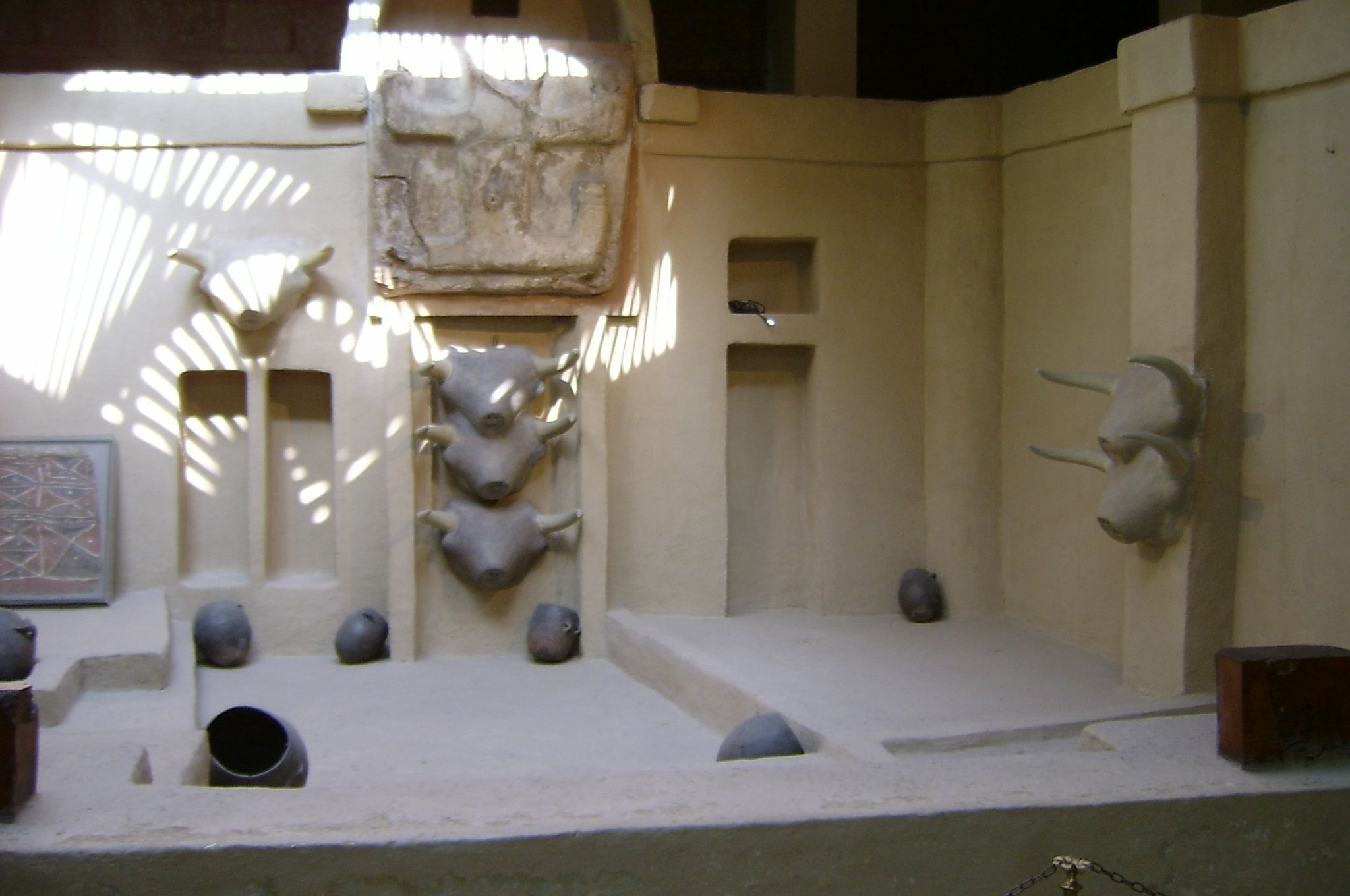 A replica of what the 'living room' in a Catal Huyuk house might have looked like.