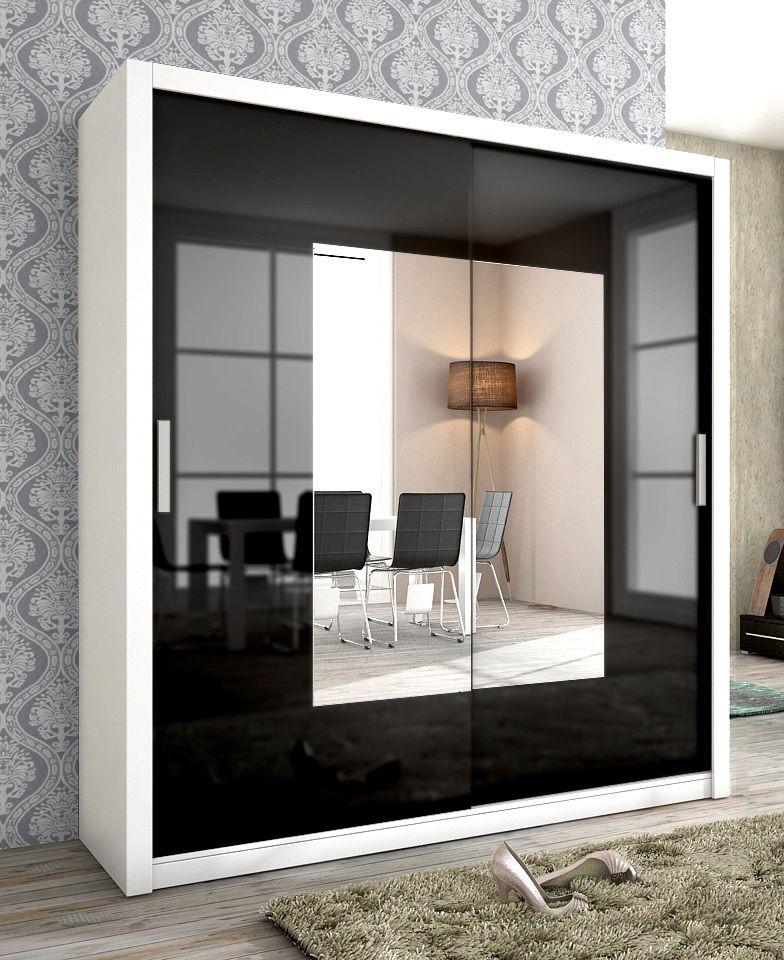 Zwarte Kledingkast Met Spiegel.Moderne Zweefdeur Kledingkast Met Spiegels Uitgevoerd In De Kleuren