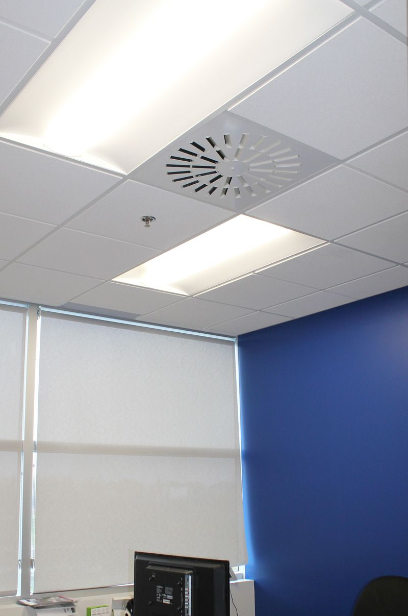 Axo S Diffuser On Office Ceiling With Blue Wall Logo Wa Ll