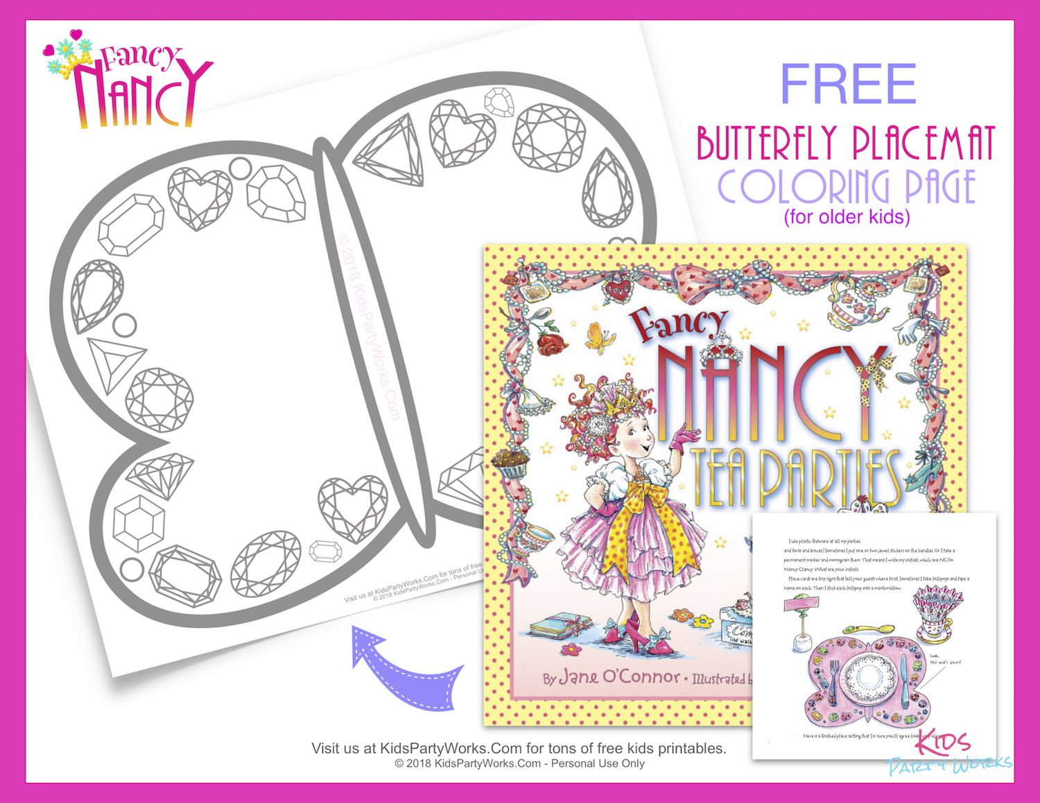 Free Fancy Nancy Butterfly Placemat Coloring Page Come See Our Other Printable Placemat For Younger Kids E Fancy Nancy Party Fancy Nancy Printables Free Kids [ 1159 x 1500 Pixel ]