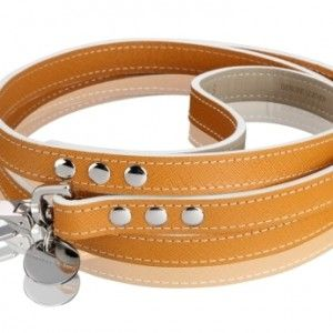 Hennessy & Sons – Hermes Tan Lead. Hennessy & Sons hand made dog collar with resistant Italian Saffiano Leather (Saffiano Calf).  Leads are 120cm long by 16cm wide. £42