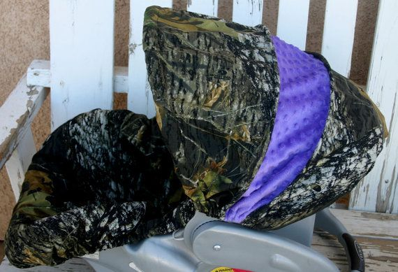 infant car seat cover and hood cover Mossy oak camo and purple minky