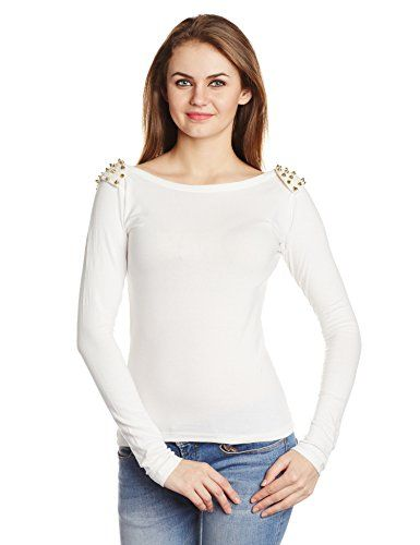 f0cf9333 Miss Chase Women's Studed Long Sleeve Top (MCS14TP02-27-82_White_X-Large)