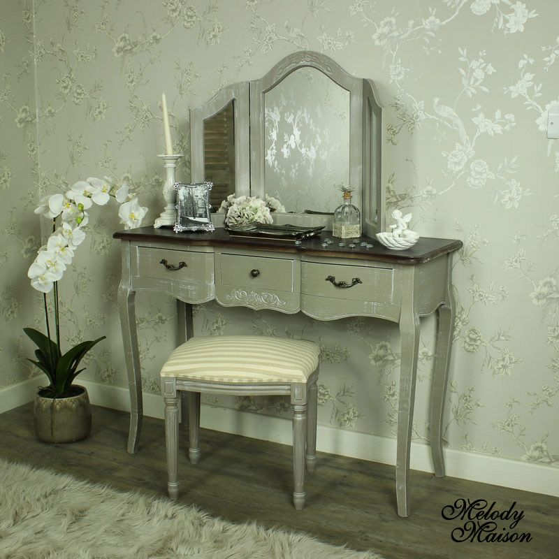 Large Grey Dressing Table, Triple Mirror and Padded Stool - French ...