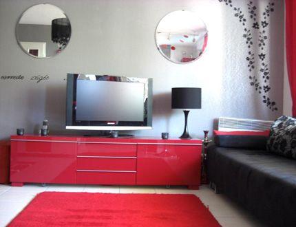 ide dcoration salon gris et rouge - Deco Salon Gris Rouge