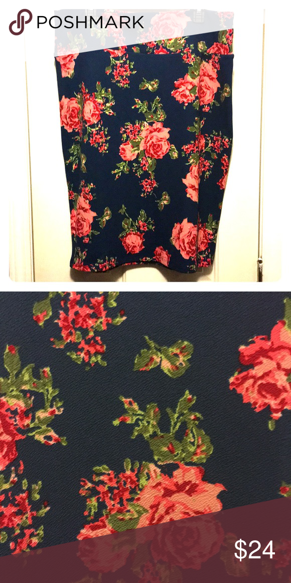8eb8c639d2 Lularoe 2XL Cassie Lularoe 2XL Cassie. Blue background with pink rose floral  pattern. Washed but never worn. Smoke free house. LuLaRoe Skirts Pencil
