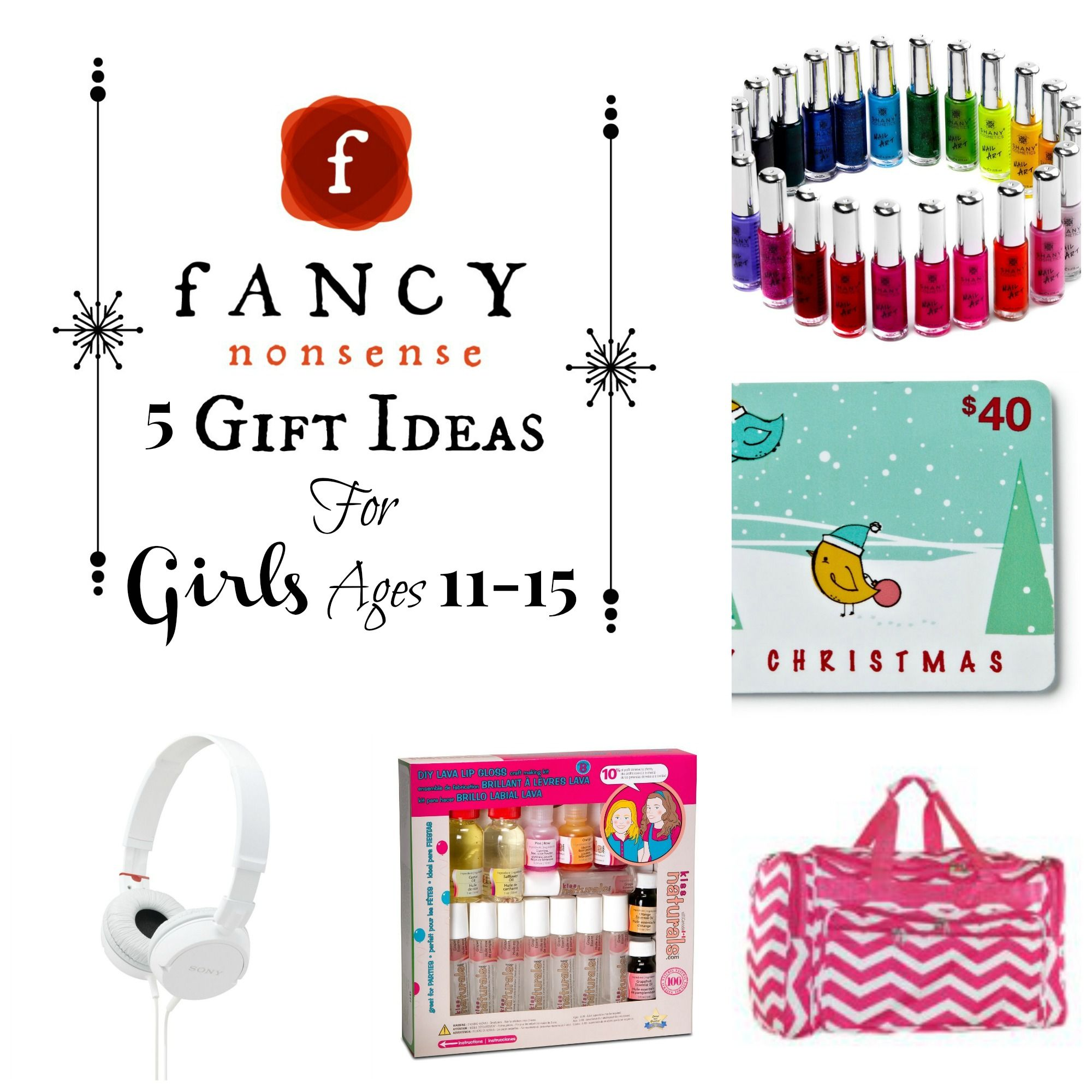 5 Gift Ideas For Girls Ages 11 15 From Fancy Nonsense 5 Gifts Christmas Gift Guide Gifts