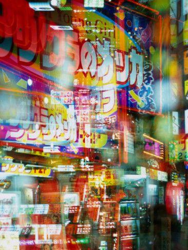 Neon Lights and Reflections in Shinjuku, Tokyo, Japan