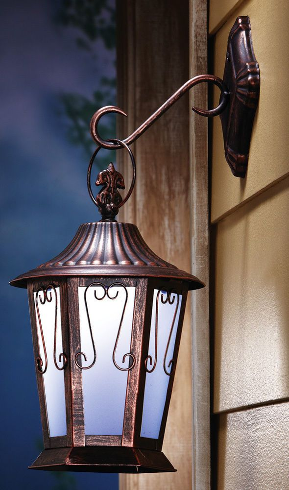 Outdoor Light Lantern Wall Fixture Vintage Garden Landscape Hanging Lamp Bronze