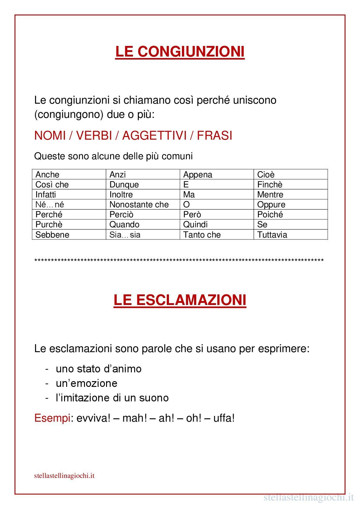 Top Schede didattiche di italiano. Le congiunzioni e le esclamazioni  RU09