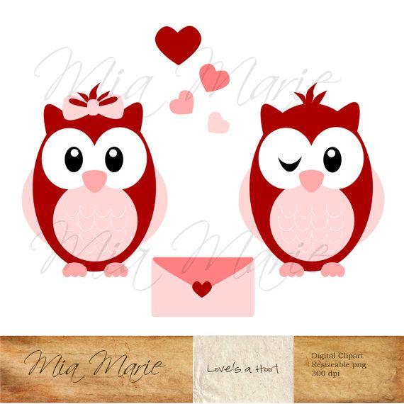 INSTANT DOWNLOAD  Valentine Clip Art  Owl Clipart Owl Clip Art