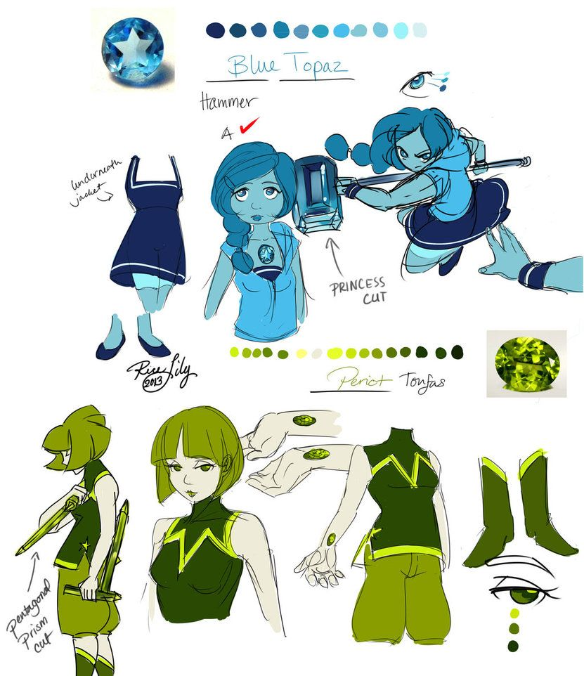 Steven Universe Ocs Blue Topaz And Peridot By Rice Lily On