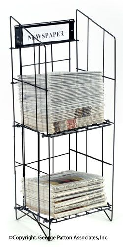 2 Tiered Wire Newspaper Rack For Floor With Separate Header Holds 70 Papers Black Rack Design Brass Shelving Flooring