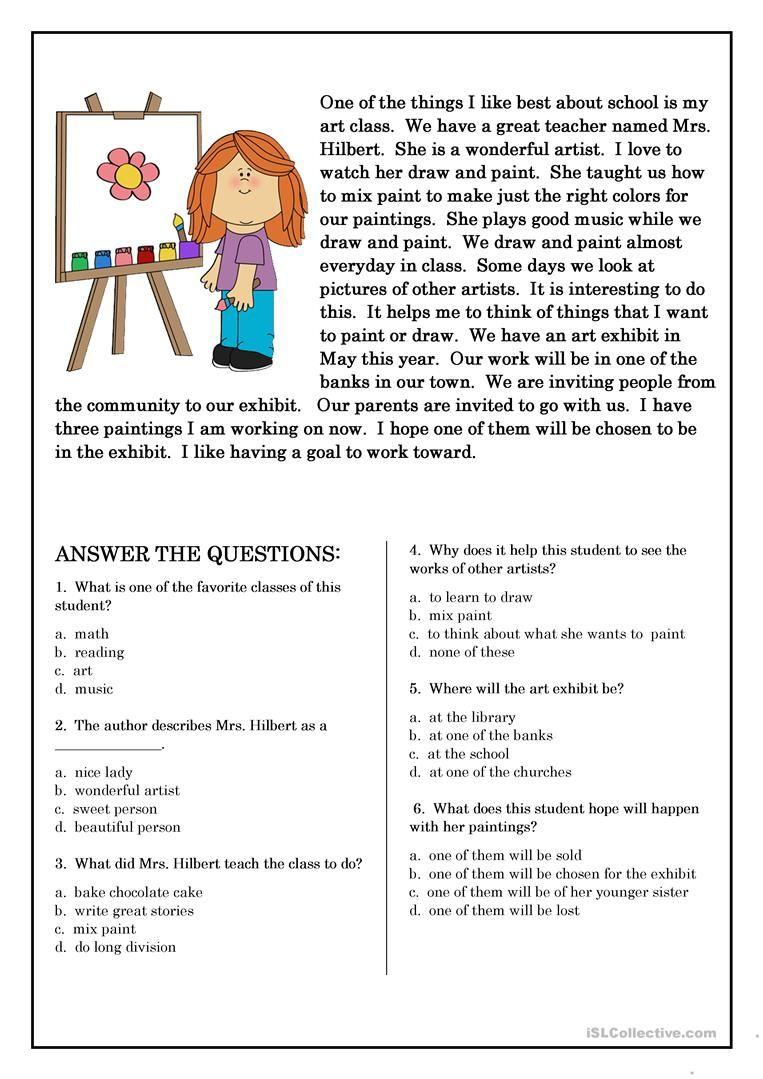 Reading Comprehension for beginner and Elementary Students 5 worksheet …    Esl reading comprehension [ 1079 x 763 Pixel ]