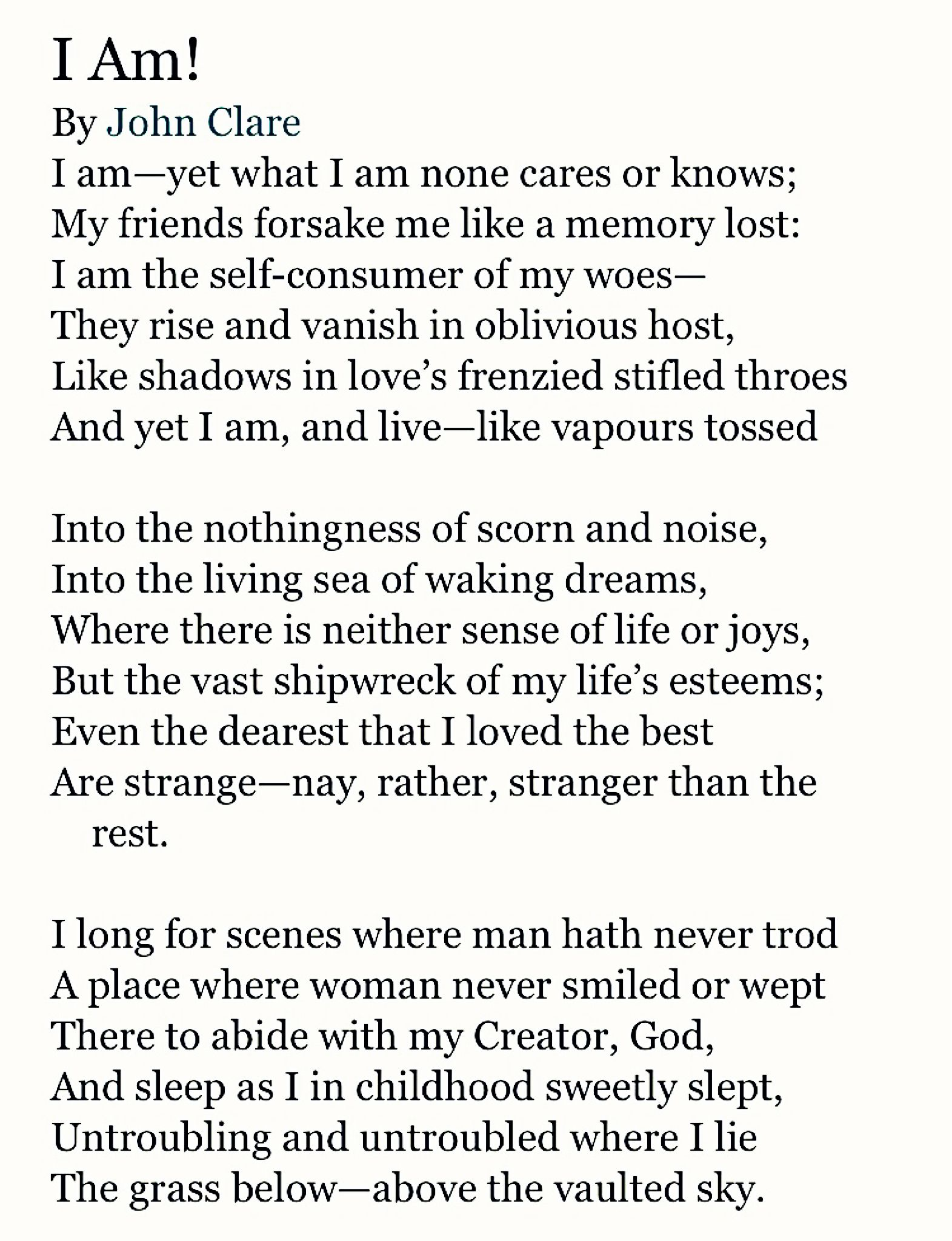 I Am By John Clare Poetry People Quote Poem Quotes Keat Ode To Autumn Analysis Analysi Summary Pdf