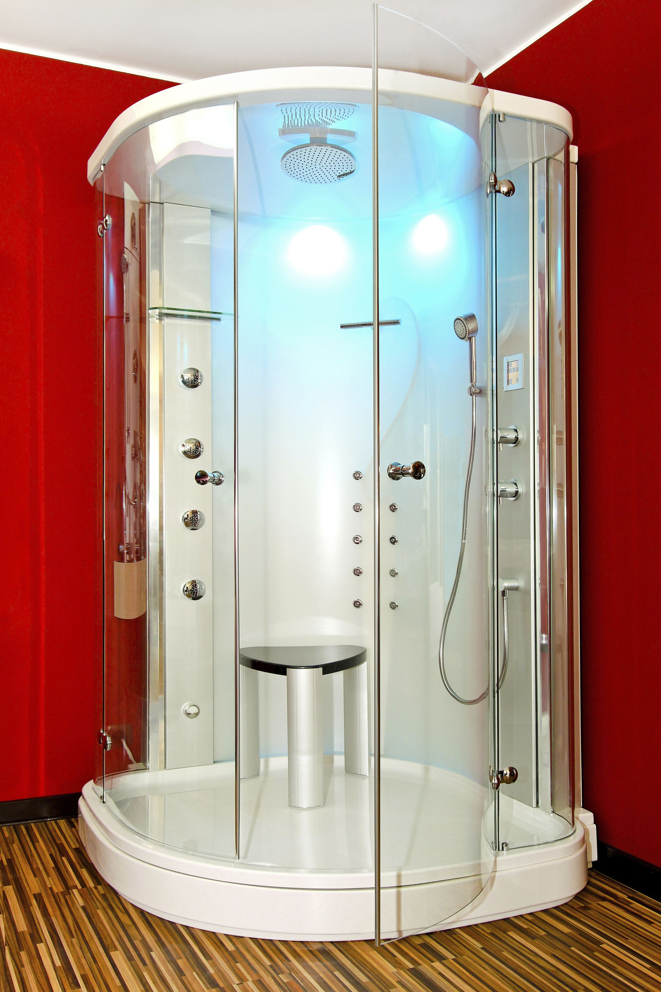 Futuristic Shower Stall Lighting With A Perfect Amount Of Red To