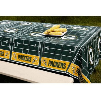 Green Bay Packers All-Over Print Tablecloth at the Packers Pro Shop; $5.95   http://www.packersproshop.com/sku/2014550079/