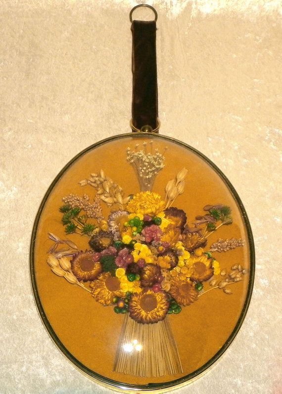 Dried Flowers Wall Art Large 1970s Cideart Velvet Lined Oval Frame ...
