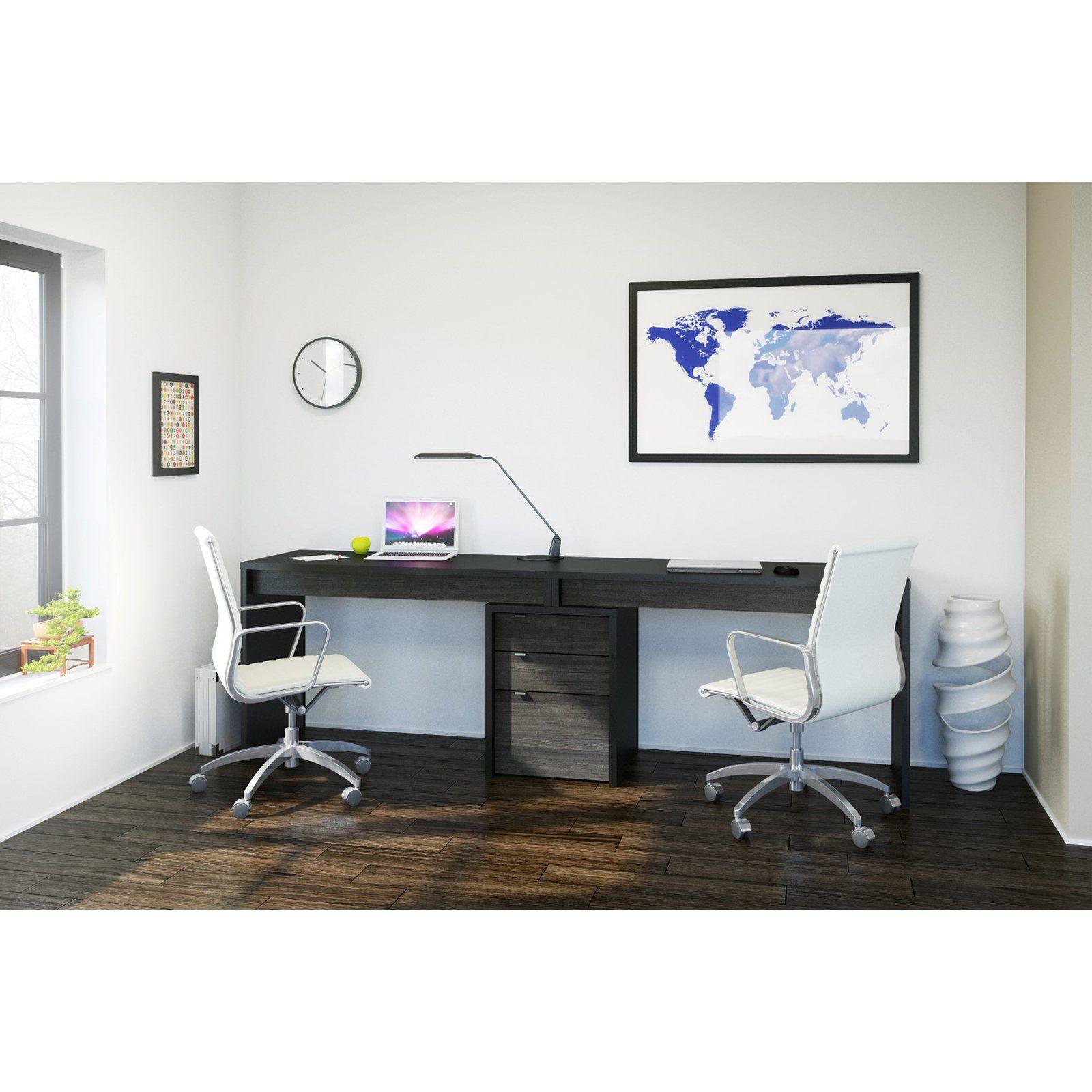 Nexera Sereni T 2 Person Desk with Filing Cabinet Black