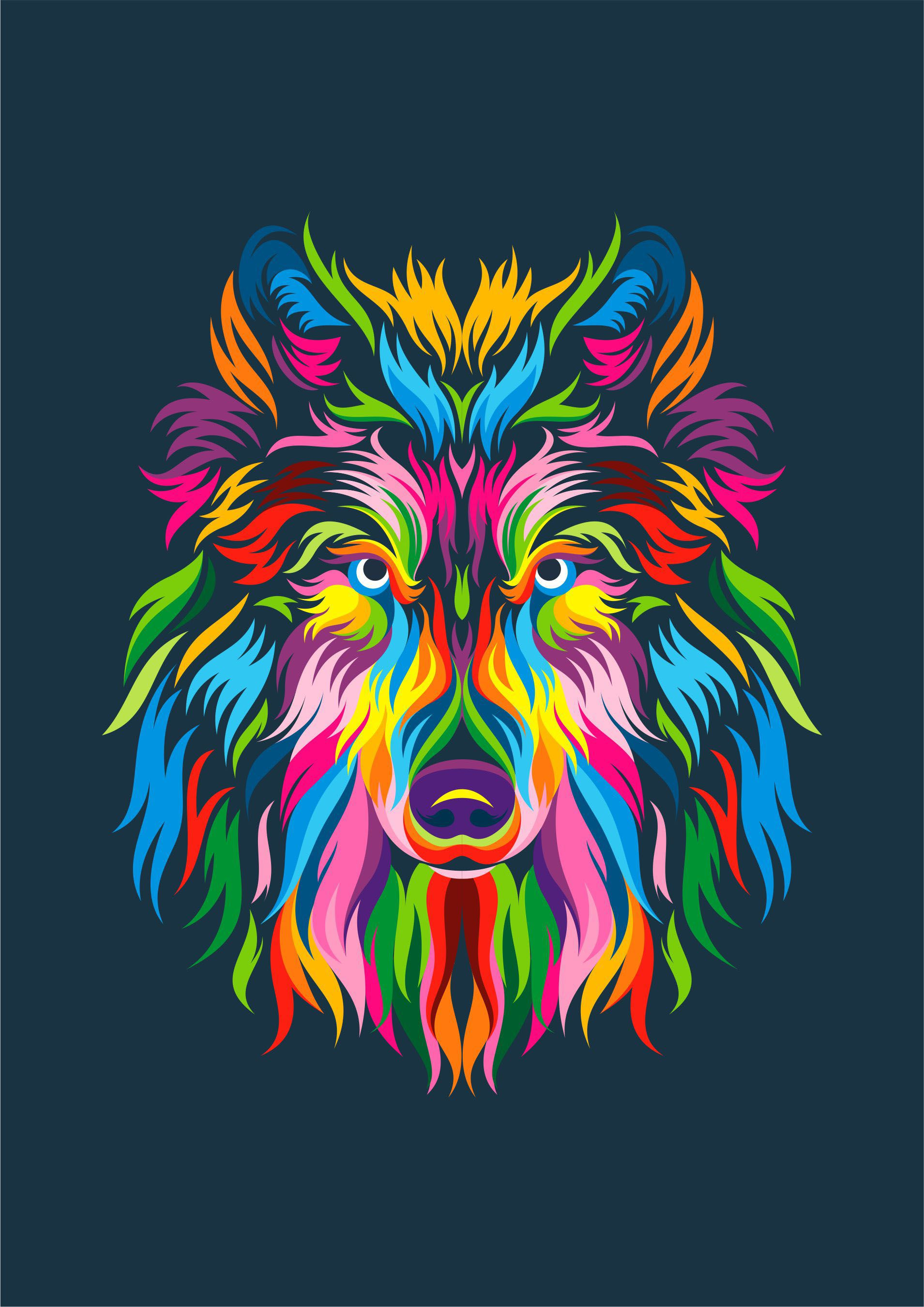 Full Color Wolf on Behance WPAP in 2019 Animal