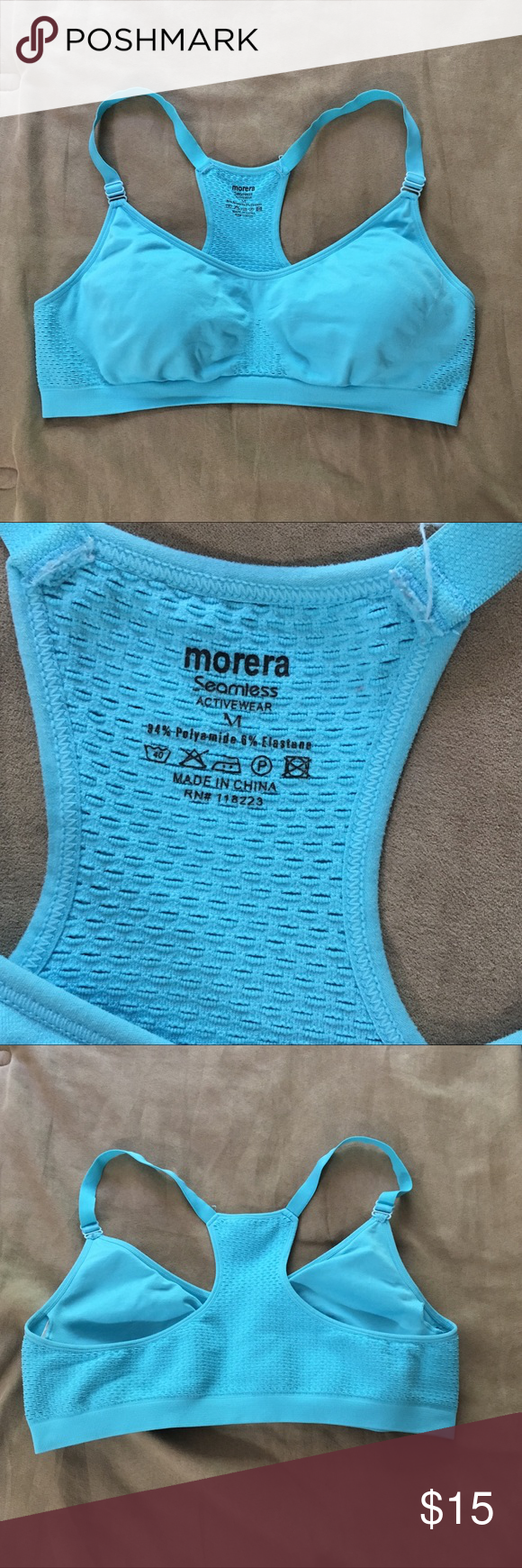 ad0381e666227 Morera seamless sports bra with removable padding Morera seamless activewear  sports bra. Pads are removable. Size medium. 94% polyamide