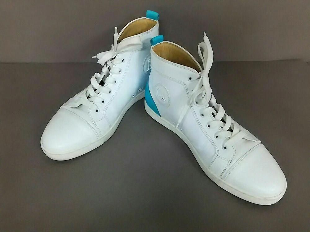 best service 55228 8fa51 Auth CHRISTIAN LOUBOUTIN Louis White Light Blue Leather Mens ...