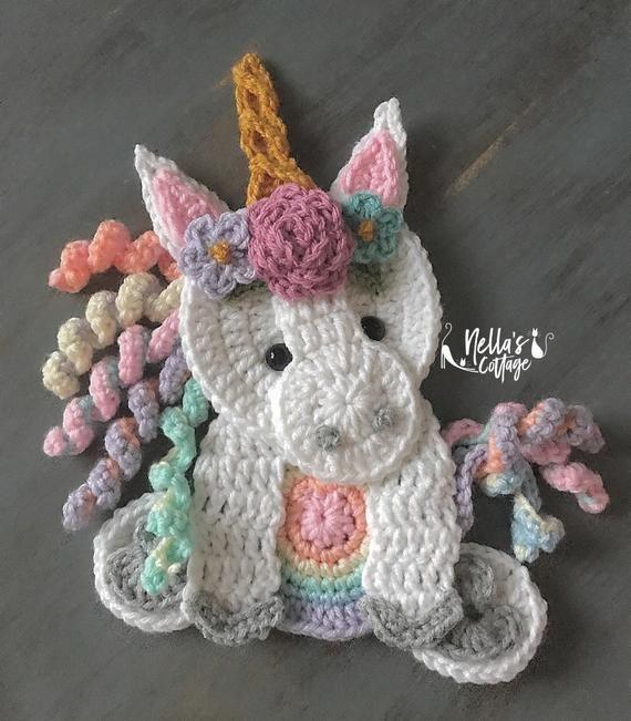 Crochet Pattern - INSTANT PDF DOWNLOAD - Unicorn Pattern - Crochet Unicorn - Boho Unicorn - Unicorns - Crochet Unicorns - Unicorn Applique