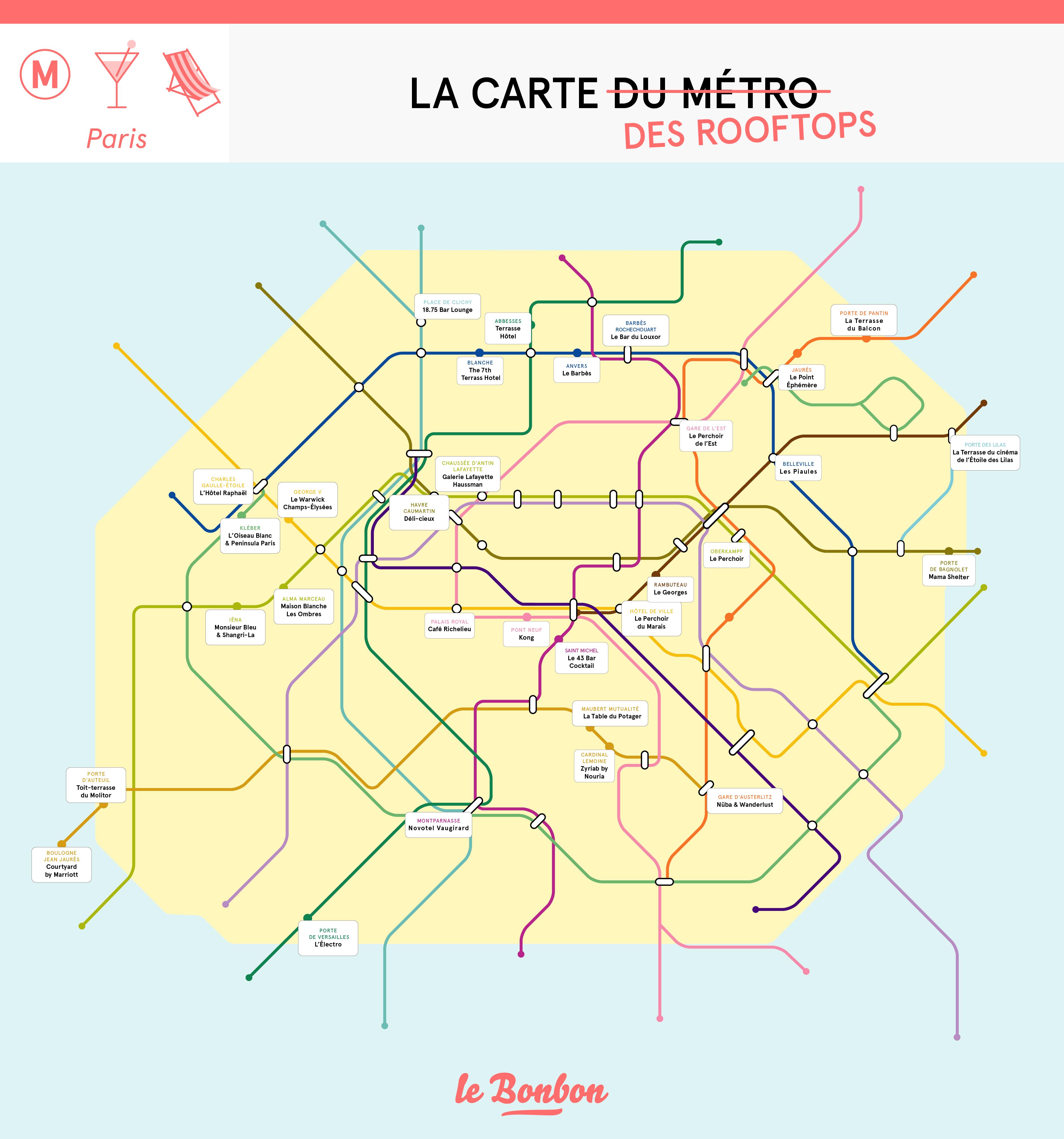 La carte du métro des meilleurs rooftops de Paris | Le Bonbon
