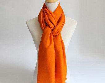 Large Orange Wool Scarf- Large black Wool Scarf-Orange Premium Wool Scarf - Black Wool Shawl - BS2014
