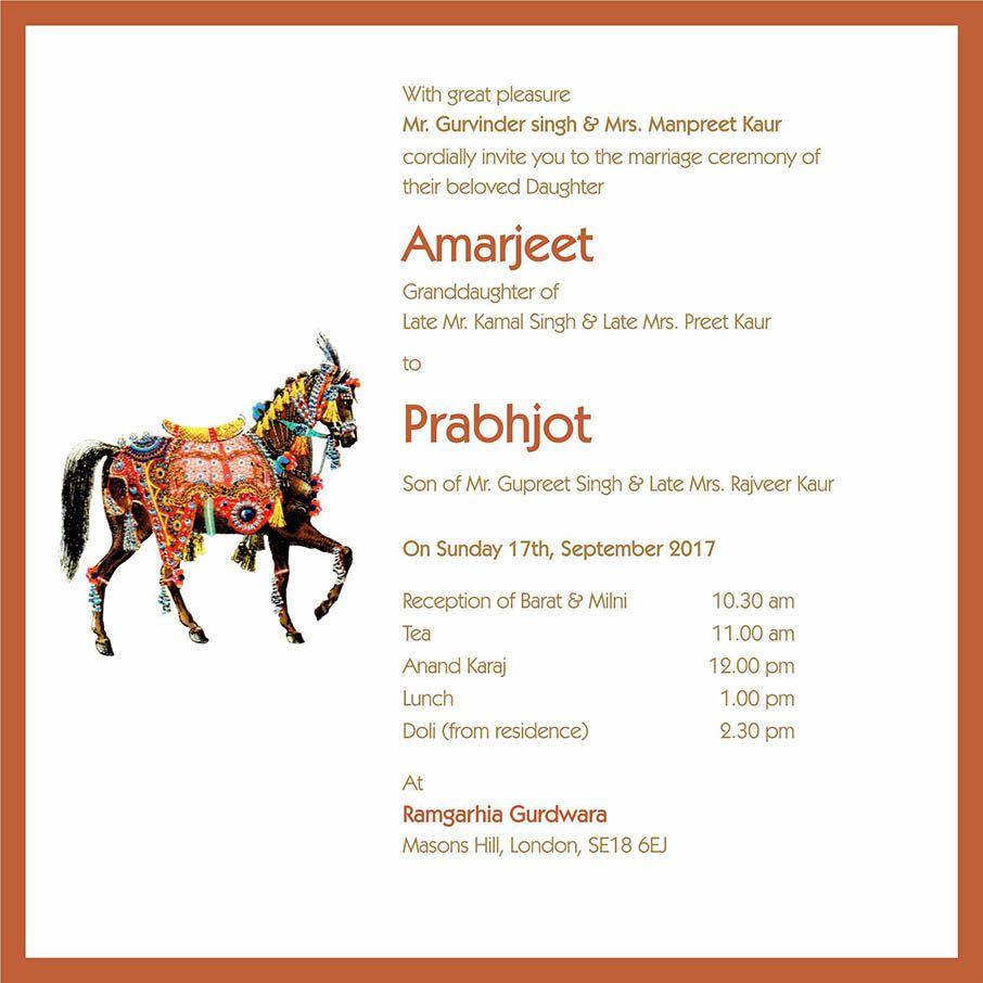 Wedding Invitation Wording For Sikh Wedding Ceremony | Sikh Wedding ...