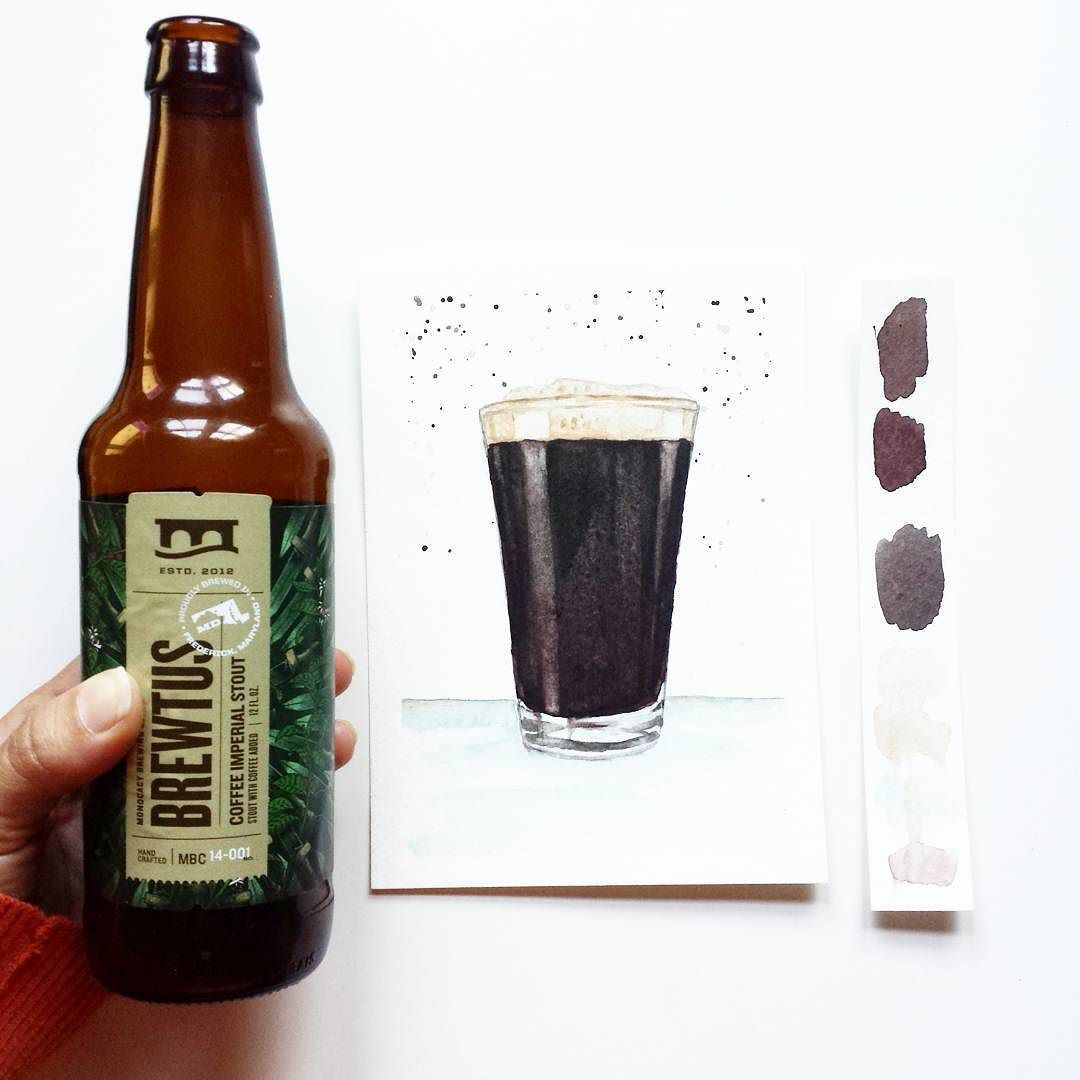 Last beer and of course it is a stout. My husband must have known I was craving a stout while painting this one.  He walked in after work with this @monocacybrewing coffee imperial stout.   Get this print and some brews this Saturday August 6 at @milkhousebrewery from 12-6pm.