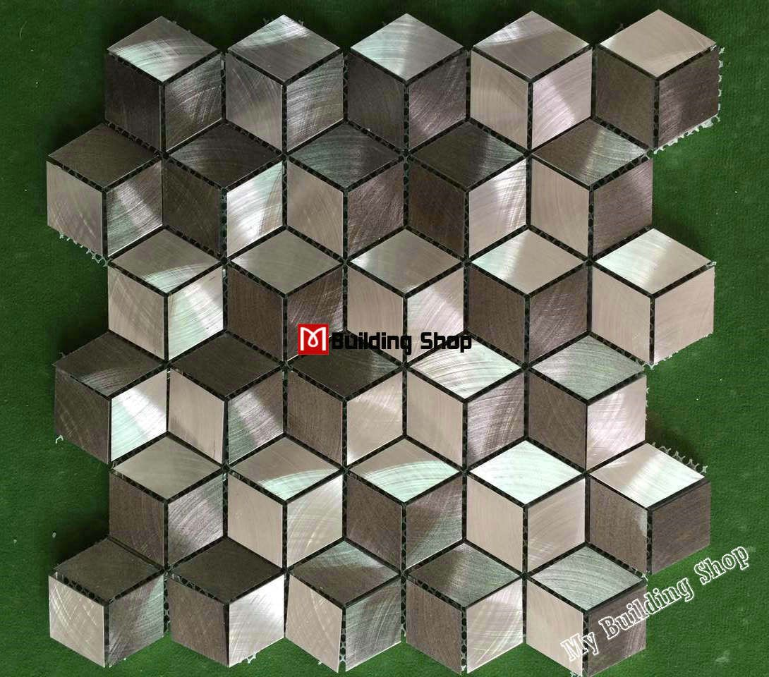 3D Metal Mosaic Stainless Steel Tile Backsplash SMMT094 Metallic Stainless  Steel Tiles Kitchen Mosaics Wall Tiles