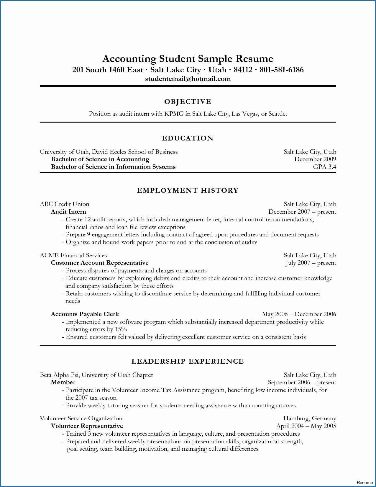 10 Example Resume Accounting Student Accounting student