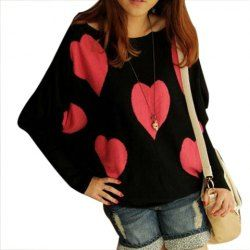 b1fcd9a94d5b Scoop Neck Love Heart Print Loose-Fitting Batwing Sleeve Sweater For ...
