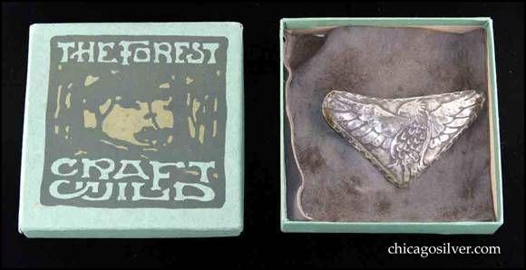 German Silver Brooch On Original Ooze Leather Backing In Original