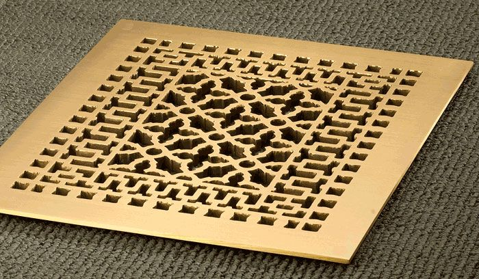 10x12 Solid Brass Renaissance Floor Register Solid Brass Renaissance Design Floor Registers Bu Decorative Vent Cover Vent Covers Decorative Grilles