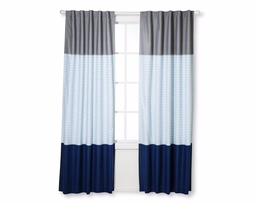 New 42 X 84 Colorblock Striped Curtain Panel Pillowfort Target Target Boys Room Curtains Panel Curtains Nursery Blackout Curtains