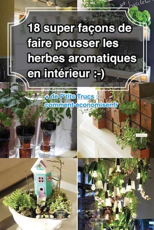 herbes aromatiques 18 fa ons astucieuses de les faire pousser en int rieur plantes et. Black Bedroom Furniture Sets. Home Design Ideas